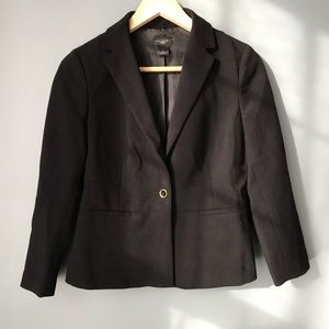 Black blazer for professional wear.